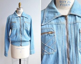 SALE / Vintage 1990s DENIM jacket with zippered front