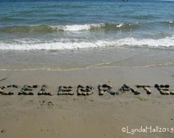 Beach Theme Photo- CELEBRATE, Beach Wish, fun photo art, upbeat word, beach stones, coastal decor, beach word, word photography, celebration