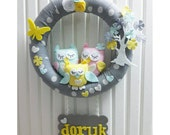Cute Owls Family and Flower Tree, Floral Butterfly, Pastel Colors, Gray For Baby Girl or Boy Door Wreath, With Name Plate