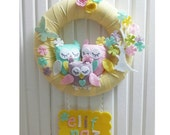 Cute Owls Family and Flower Tree, Floral Butterfly, Pastel Colors, Yellow For Baby Girl or Boy Door Wreath, With Name Plate