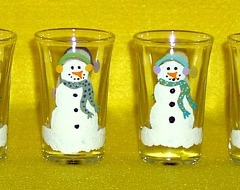 Snowmen Shot Glasses Hand Painted - Set of 4