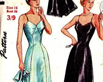 1940s Simplicity Pattern, lingerie, sewing pattern, slip and panties
