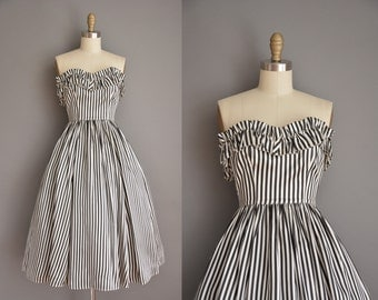 vintage 1950s inspired dress / strapless striped party dress / 50s dress