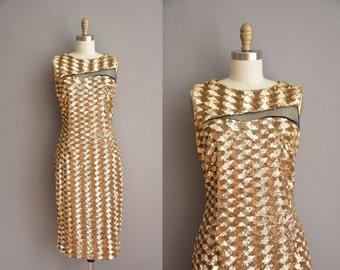 80s gold sequin vintage party dress / vintage 1980s dress