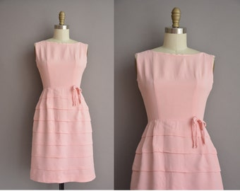 50s pink rayon tier vintage wiggle dress / vintage 1950s dress