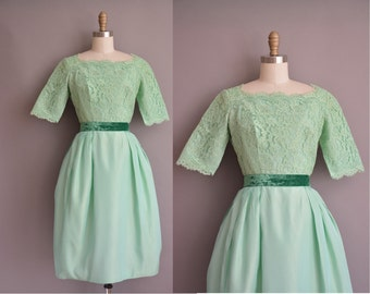 Harry Keiser 50s mint green vintage party dress / vintage 1950s dress