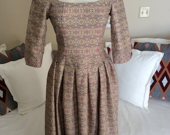 1960s print dress with Marie Antoinette inspired cut