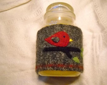 Felted Wool Candle Cozy, jar candle cover