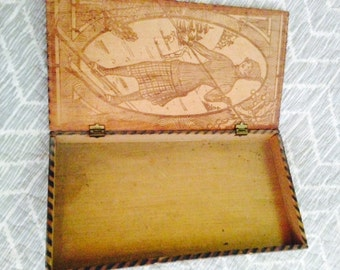Vintage Wooden box with skier