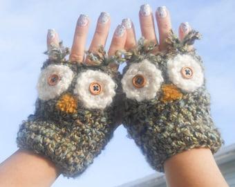 Owl Fingerless Mitts, Fingerless Gloves, Owl Mitts, Owl Gloves, Owl Fingerless, Animal Mitts, Fingerless, Cute, Grey, Kawaii, Soft