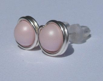 Pastel Pink Pearl Stud Earrings (8mm), Swarovski Pearl Stud Earrings, Wire Wrapped Sterling Silver Stud Earrings, Pale Pink Studs