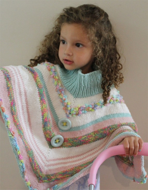 Knitting Patterns For Ponchos For Toddlers : PDF poncho KNITTING PATTERN Fun Toddler Poncho pdf file