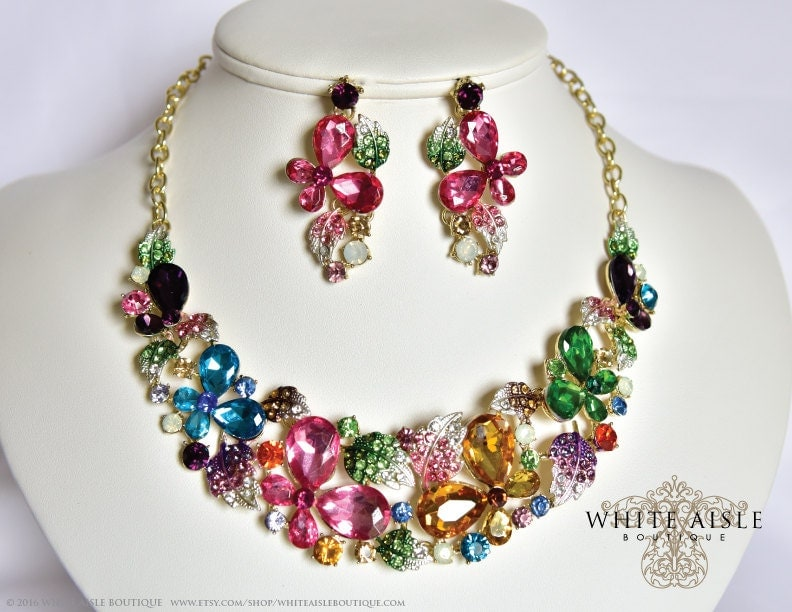 Butterfly Bridal Jewelry Set Crystal Statement Necklace Vintage Inspired Necklace Chunky