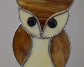 Stained Glass Owl, Suncatcher, Brown Owl, Tiffany Style, Black Glass Nugget Eyes