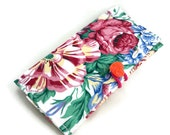 Floral checkbook cover with handmade heart button