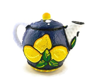 Lemons teapot polymer clay over ceramic