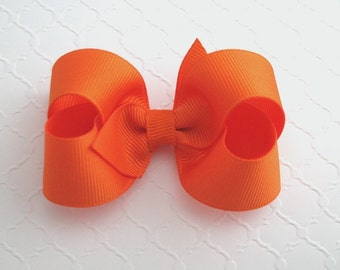 Orange Hair Bow, Halloween Baby Hair Bow, Toddler Girls Hair Bow, 3 inch Boutique Style Hair Bow