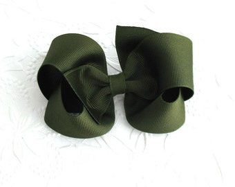 Olive Green Boutique Hair Bow ~ Toddler / Girls Grosgrain Hair Clip