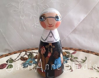 St. Katharine Drexel Catholic Saint Toy - Wooden Doll - Made to Order
