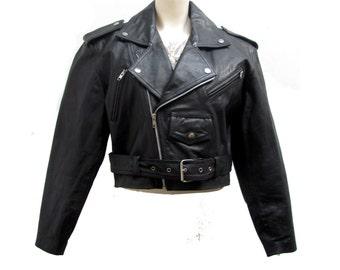 1980s Cropped Motorcycle Jacket Womens Black Wilsons The  Leather Experts Bolero Biker Jckt  Womens Size Medium