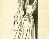 Vintage 1950's Dress Pattern - AMERICAN WEEKLY - Mail Order Pattern 3889 - Misses' Flared Back-Wrap Dress - Bust Size 40