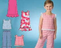 Simplicity Kids Pattern 2681 -  Girls Dress or Top and Cropped Pants - Children's Sizes 3 to 8