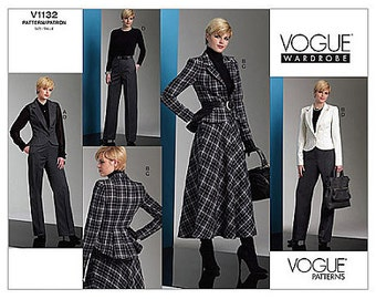 SZ 8/10/12/14 - Vogue Seperates Pattern V1132 - Misses' Peplum Jacket or Vest, Skirt and Pants - Vogue Wardrobe Pattern