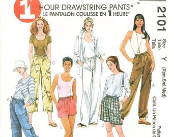Misses' Pull-On Drawstring Pants or Shorts, Both in Two Lengths - Sz Xsm/Sml/Med - McCall's Pants Pattern 2101