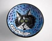 Small Ceramic Bowl - Tuxedo Cat Bowl - Pottery Clay Bowl - Tuxedo Cat  Black and White on Blue - Majolica - Cereal Bowl - Small Dish