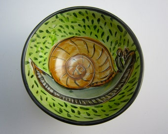 Small Ceramic Serving Bowl - Snail - Bowl - Pottery Dish - Pottery Bowl - Majolica - Handmade - Green - Cereal Bowl -  Brown Grey Gray