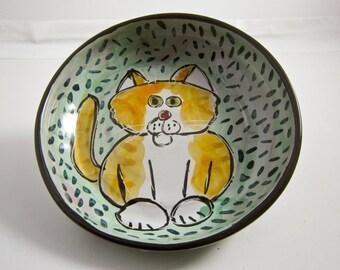 Ceramic Feeding Dish Bowl Orange and White Cat Clay Pottery Majolica Handmade on Aqua blue green