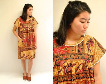 Indonesian Cotton Dress  //  70s Ethnic Dress // Batik Print Dress // THE BIAK