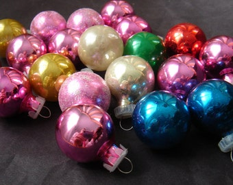 21 Vintage Glass Mini Christmas Tree Ornaments Multi Colored - Feather Tree Ornaments
