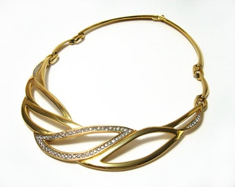 Vintage Monet Necklace Choker Gold Tone Clear Rhinestone Linked Bib Necklace
