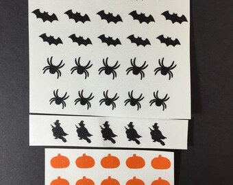 Halloween mix glitter Toe nail / finger nail art / tattoos / decals / stickers / pedicure jackolantern, bats, spiders, witches and pumpkins
