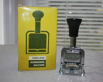 Vintage Cascade Numbering Machine Industrial Commercial 6 Wheel 7 Motions #M4-C326 Style E