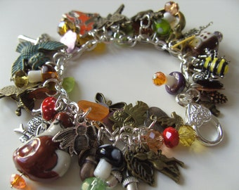 Woodland, charm bracelet, toadstool, deer, fox, owl, Summer, Autumn, by NewellsJewels on etsy
