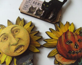 Set of 3, Halloween, Harvest, whimsy, sunflower, pumpkin, black cat, yellow, black, by NewellsJewels on etsy