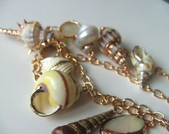 Gorgeous, SHELL, charm, double rose gold chain, necklace, Natural, cream and gold, rose gold, by NewellsJewels on etsy