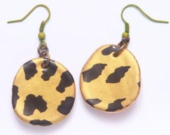 Ceramic Handmade Earrings Leopard Print Gold Black