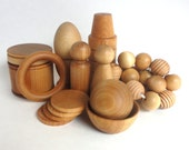 Montessori baby toys, wood baby toy set, babies first toys - deluxe set of all natural wood toys