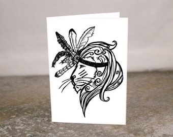 Blank Lion Feather Headdress Tattoo Art Mini Card 3.5 x 2.5