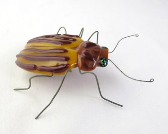 Colorado potato beetle Leptinotarsa decemlineata Fused Glass Sculpture