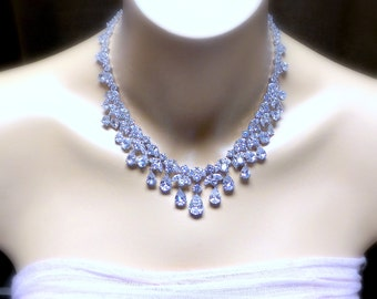 Bridal wedding earrings necklace set clear white cubic zirconia luxury white gold rhodium cluster multi shape necklace