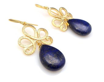 lapis lazuli teardrop semi-precious gem drop with matte tiara filigree ribbon connectors with gold hook bridesmaid gift wedding earrings