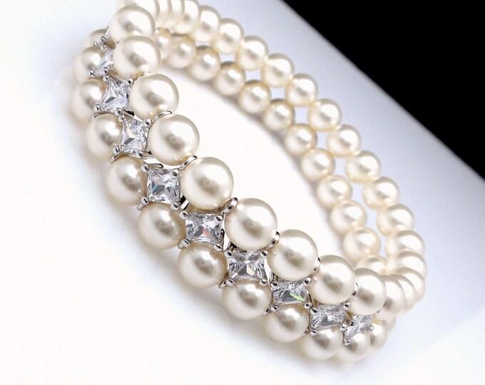 double strand swarovski white or cream round  pearl bracelet wedding jewelry bridal bracelet christmas rhodium Marquise Cubic Zirconia small