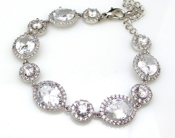 wedding jewelry bridal bracelet bridesmaid gift party christmas pageant rhodium pave Clear white oval halo cubic zirconia round connector