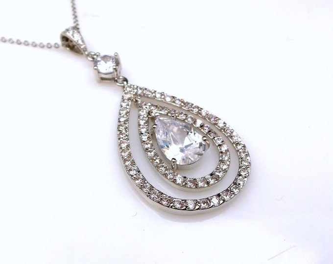 wedding jewelry bridal necklace bridesmaid party gift pave halo Sterling silver necklace rhodium AAA cubic zirconia luxury teardrop pendant