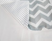 Reversible Grey & White Chevron and Polka Dots Waterproof Changing Pad - small