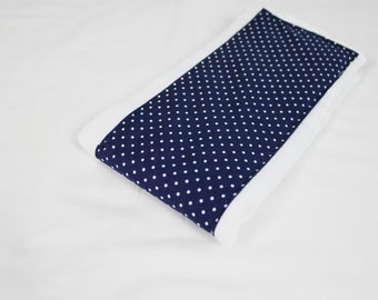 Navy Blue and White Polka Dot Baby Burp Cloth